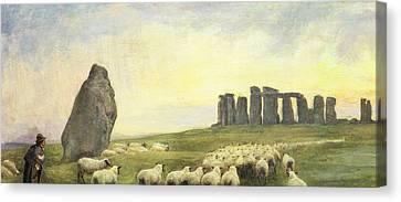 Returning Home     Stonehenge Canvas Print by Edgar Barclay