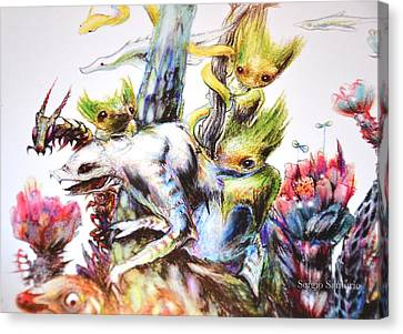 Reunion Del Bosque Fragmento Bestiarium Canvas Print by Sergio Santurio