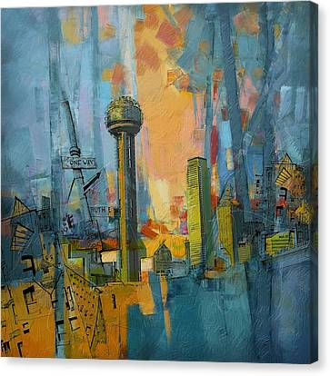 Reunion Tower Canvas Print by Corporate Art Task Force