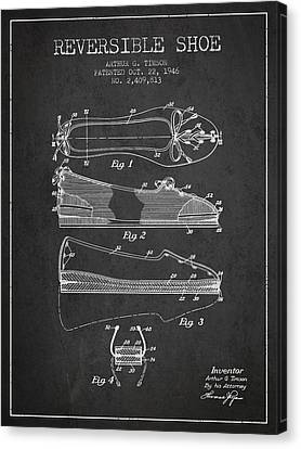 Reversible Shoe Patent From 1946 - Charcoal Canvas Print by Aged Pixel