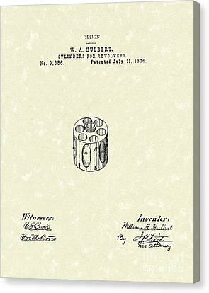 Revolver Cylinder 1876 Patent Art Canvas Print by Prior Art Design