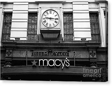 R.h. Macy And Co. Mono Canvas Print by John Rizzuto