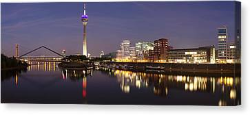 Rheinturm Tower And Gehry Buildings Canvas Print by Panoramic Images