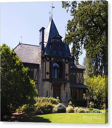 Rhine House At Beringer Winery St Helena Napa California Dsc1719 Square Canvas Print by Wingsdomain Art and Photography
