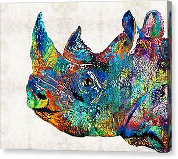 Rhino Rhinoceros Art - Looking Up - By Sharon Cummings Canvas Print by Sharon Cummings