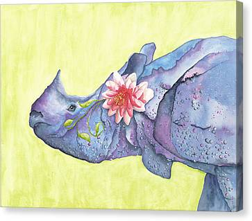 Rhino Whimsy Canvas Print by Mary Ann Bobko