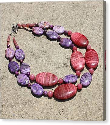 Rhodonite And Crazy Lace Agate Double Strand Chunky Necklace 3636 Canvas Print by Teresa Mucha