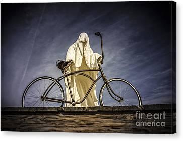 Rhyolite Bicyclist  Canvas Print by Janis Knight
