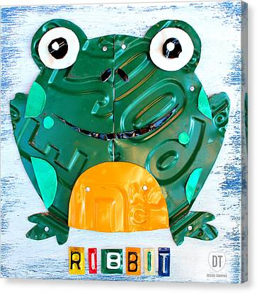 Ribbit The Frog License Plate Art Canvas Print by Design Turnpike