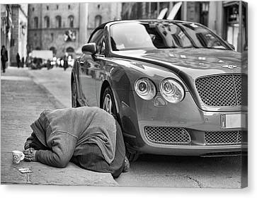 Rich And Poor Canvas Print by Michele Chiroli