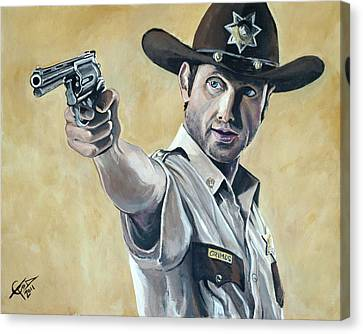 Rick Grimes Canvas Print by Tom Carlton