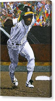 Rickey Henderson Canvas Print by Mike Rabe
