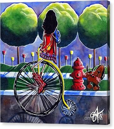 Riding Grandmas Bike Canvas Print by Jackie Carpenter