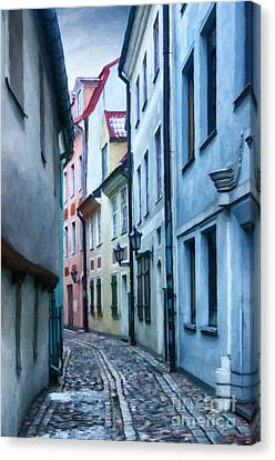 Riga Narrow Street Painting Canvas Print by Antony McAulay