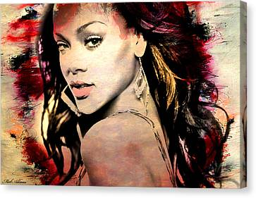 Rihanna Canvas Print by Mark Ashkenazi