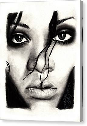 Rihanna Canvas Print by Rosalinda Markle