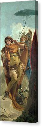 Rinaldo Turning In Shame From The Magic Shield Canvas Print by Giovanni Battista Tiepolo