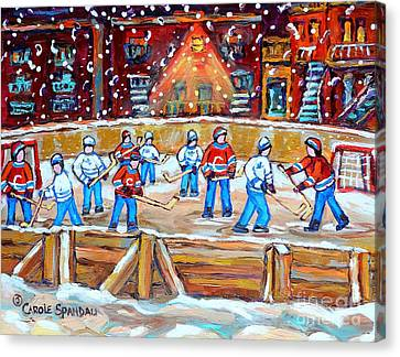 Rink Hockey In The City Montreal Memories Outdoor Hockey Fun Street Scene Painting Carole Spandau Canvas Print by Carole Spandau