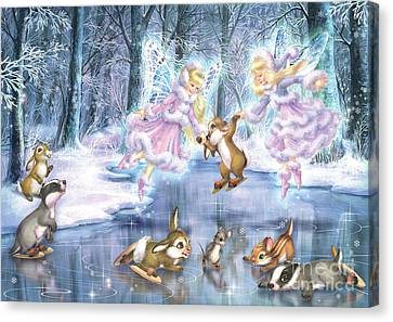 Rink In The Forest Canvas Print by Zorina Baldescu