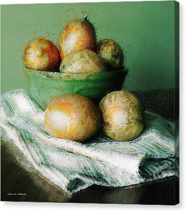 Ripe Mangoes In A Bowl Canvas Print by Susan Schroeder