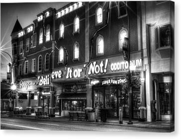 Ripley's Of Gatlinburg In Black And White Canvas Print by Greg and Chrystal Mimbs