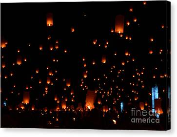 Rise Festival Lanterns 2014 Horizontal Ground And Sky #1 Canvas Print by Heather Kirk