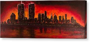 Rising Sun At Nyc Canvas Print by Coqle Aragrev