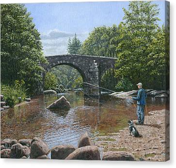 River Dart Fly Fisherman Canvas Print by Richard Harpum