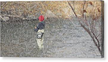 River Fishing In The Snow Canvas Print by Brent Dolliver