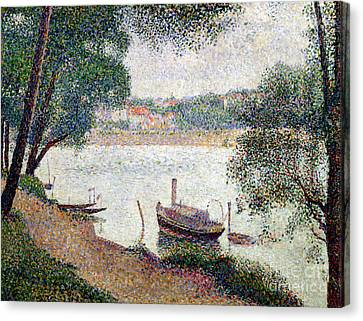 River Landscape With A Boat Canvas Print by Georges Pierre Seurat