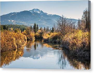 River Of Golden Dreams In Autumn Canvas Print by Pierre Leclerc Photography