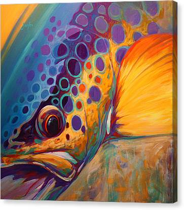 River Orchid - Brown Trout Canvas Print by Savlen Art