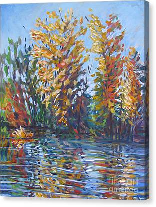 Fall Arrives At River Road Canvas Print by Vanessa Hadady BFA MA