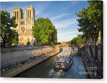 River Seine And Cathedral Notre Dame  Canvas Print by Brian Jannsen