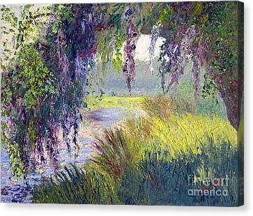 River Through The Moss Canvas Print by Patricia Huff