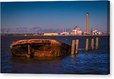 Riverside Wreck Canvas Print by Dawn OConnor