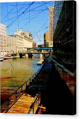 Riverwalk And Painted Board Canvas Print by Anita Burgermeister