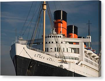 Rms Queen Mary Cruise Ship At A Port Canvas Print by Panoramic Images