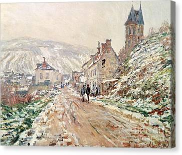 Road In Vetheuil In Winter Canvas Print by Claude Monet