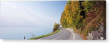 Road, Lake, Brienz, Switzerland Canvas Print by Panoramic Images