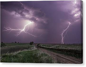 Road To Nowhere - Lightning Canvas Print by Aaron J Groen