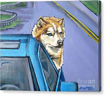 Road-trip - Dog Canvas Print by Grace Liberator
