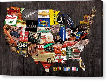 Road Trip Usa American Love Affair With Cars And The Open Road Canvas Print by Design Turnpike