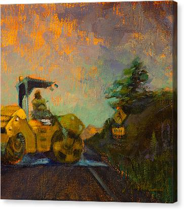 Road Work Ahead Canvas Print by Athena  Mantle