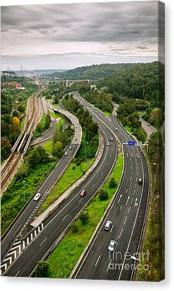 Roads Top View Canvas Print by Carlos Caetano