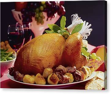 Roast Turkey With Potatoes Canvas Print by The Irish Image Collection
