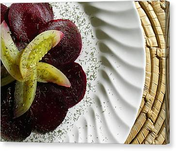 Roasted Beet Carpaccio With Picked Green Tomatoes Canvas Print by James Temple
