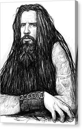 Rob Zombie Art Drawing Sketch Portrait Canvas Print by Kim Wang