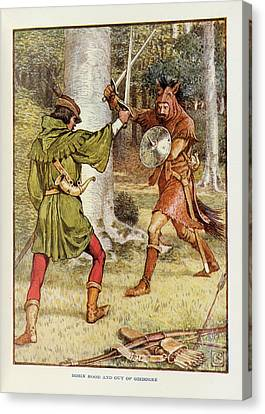 Robin Hood And Guy Of Gisborne Canvas Print by British Library