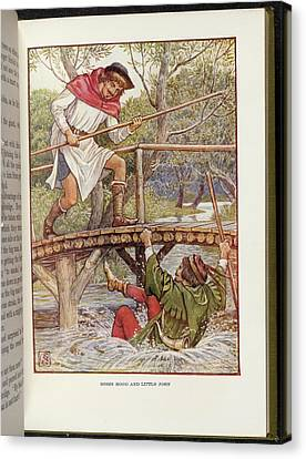 Robin Hood And Little John Canvas Print by British Library